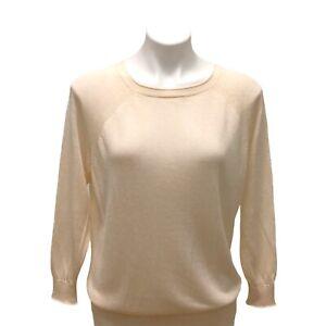 J.CREW Womens Sz Small Kate Sweater Linen Blend Crew Neck Pullover Ivory Summer