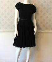 Vintage 1950s Black Crepe and Chiffon Belted Dress With Pleated Skirt
