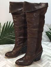 "3.75"" Heel Brown Women's 9 39 Eu Lucky Brand Knee High Boots Leather Suede"