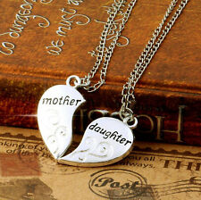 2PCS Set Mother and Daughter Forever Love Heart Necklace Pendant Birthday Gift