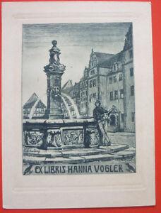 """Exlibris, Bookplate """"Hanna Vogler"""" Jugendstil, Stadt, Brunnen, Fisch"""