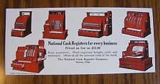 1926 Vintage NCR Antique NATIONAL CASH REGISTER Old Advertising Trade Card Model