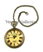 Kelvin & Hughes London Antique Brass Pocket Watch Collectible Nautical Clock