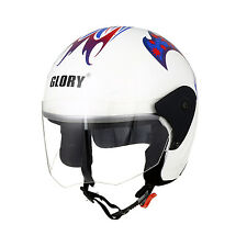 MP Glory White STK Track Paint Open Face Motorcycle Scooter Helmet with ISI Mark