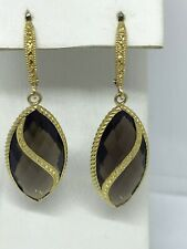 Smoky Quartz Earrings Large Marquise Shaped Dangle Lever Back 10k Gold Brown