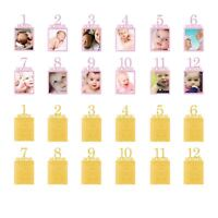 1st Birthday Glitter Photo Banner 1-12 Months Bunting Hanging Party Decoration