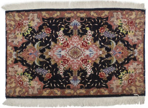 One of a Kind Handmade Small 3X2 Classic Floral Design Oriental Rug Wool Carpet