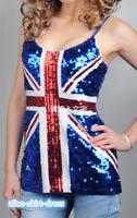 Sequined BritishFlag Women Vest Sleeveless Glitter Spaghetti Straps Camisole Top