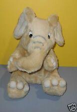 "Cute 14"" Kids of America Tan Pudgy Baby Elephant Soft Stuffed Plush w/Gray Trunk"