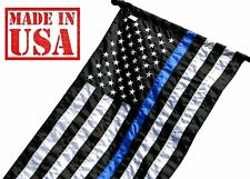 3x5 Thin Blue Line American Flag Pole Sleeve Embroidered Stars Sewn Stripes