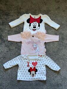 Baby Girl Bundle x3 Disney Long Sleeve Tops  0-3 Months