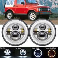 "For Suzuki Sierra LJ80 SJ80 SJ80V 1pr Chrome LED Amber Halo 7"" Round Headlights"