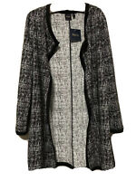 NWT $65 Women's Rafaella Black & White Coat Jacket Size Medium Light Weight