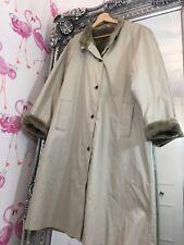 Vintage St Michael M&S Beige Cream Faux Fur Lined Long Pocket Trench Mac Coat 14