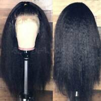 Thick Kinky Straight Human Hair Wig Brazilian Hair Lace Front Wig Pre Plucked Xf