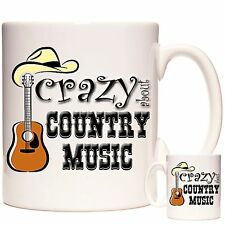 Taza de música country loco por la música de país Posavasos a juego disponibles C&W Regalo