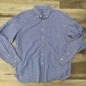 J. Crew Mens Light Weight Summer Purple Blue Plaid Button Down Shirt Large