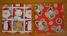 """2 Sheets of Christmas Wrapping Paper Gift Wrap 40"""" x 40"""" Santa Snowman Snoopy"""