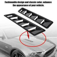 Universal Car Hood Vent Louver Air Cooling Panel Trim Set Black ABS 17X5 Inch