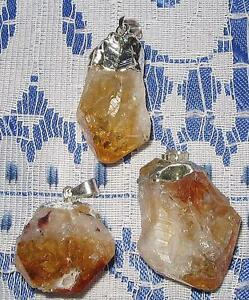 BEAUTIFUL *CITRINE* NATURAL CRYSTAL PENDANT WITH SILVER BALE/ FREE POST/A1 GRADE