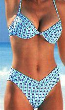 Damen Bügel Bikini Badeanzug Blau Türkis Weiss Kariert Beach Time  Gr. 36 D-Cup