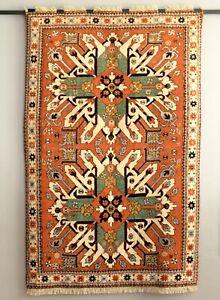 "Vintage Caucasian Chelaberd Sunburst kazak Rug nomad tribal carpet 4'5"" x 6'8"""