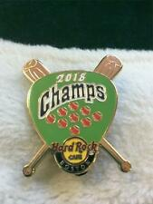 Hard Rock Cafe Pin Boston 2018 Red Sox Champs Green Guitar Pick w 2 Crossed Bats