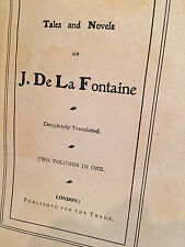 Tales and Novels of J. De La Fontaine, Two Vol.'s in One, Hardcover, 1900, Illus