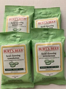 4 X Burt's Bees Facial Cleansing Towelettes Cucumber & Sage 10ct Ea
