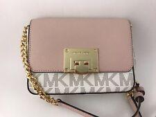 NWT MICHAEL KORS Tina PVC Vanilla/Ballet Signature Small Clutch Crossbody Bag