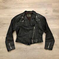 Echtes Leder Womens Black Leather Riding Jacket Asymmetrical Zipper Size 42