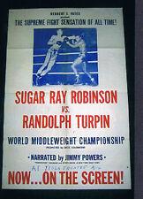 RARE 1951 World Championship Sugar Ray Robinson vs Randy Turpin boxing poster