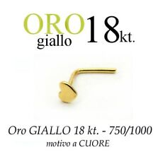 Piercing da naso nose ORO GIALLO 18kt. con CUORE LISCIO yellow GOLD with HEART