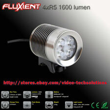 Fluxient 1600 Lumen 4XR5 LED Rechargeable Helmet or bar Bike / Bicycle Light