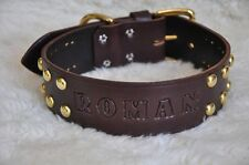 "Wide Leather Large  Dog Custom Collar Personalized 2"" Wide w/ Spots"