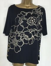 M&S Navy Floral Print Stretch Jersey Top Sizes 8-22 New (ms-239h)