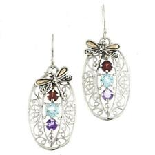 "1 1/4"" DRAGONFLY FILIGREE AMETHYST GARNET BLUE TOPAZ 925 SILVER earrings"