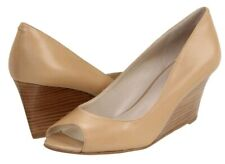 73fe0084b379 NINE WEST  Power Surge  Natural Beige Peep Open Toe Wedge Shoes Leather ...
