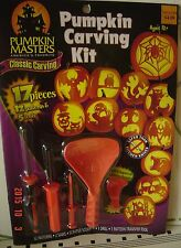 17 PC Halloween Family Classic CARVING KIT 12+ Pumpkin CARVE 5 Patterns 5 Tools