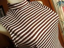 SMALL  True Vtg 70s CLASSIC POLYESTER KNIT ZIPBACK brown STRIPE TURTLENECK Top