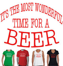 Funny Christmas T-Shirts Singlets ladies men's Xmas BEER size Charts Aussie tops