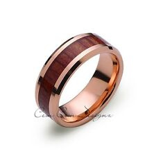 Koa Wood Wedding Ring - Rose Gold Tungsten Band - Hawaiian Koa Wood - 8mm - Mens