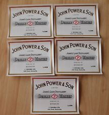 5 Irish Whiskey John Power & Son Labels