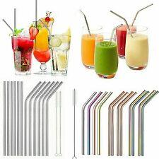 4pcs Stainless Steel  Drinking Metal Straw Bar Straws Cleaner Brush Kit uk stock