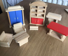 Bundle Of Wooden Doll's House Furniture By Eichhorn. Excellent Condition.