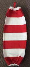 Red & White Striped Cotton Plastic Bag Holder / Soft Plastics Collector/ Storage