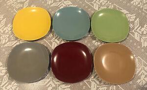 6 JOHNSON JAMBOREE Retro Harlequin Square Round Salad Plates 1950s Full Set