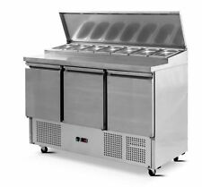 Saladette Pizza Bar Prep Bench Fridge 3 Doors 7 Trays 1360mm Long Ps-300