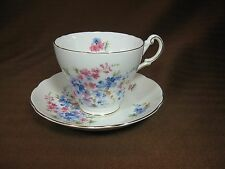Regency White Bone China Cup and Saucer Pink & Blue Flowers Gold Trim Scalloped