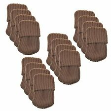 High Elastic Non-Slip Knitted Furniture Socks Floor Protector (Set of 16) Brown